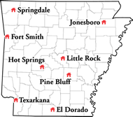 Arkansas map showing the centers on aging.