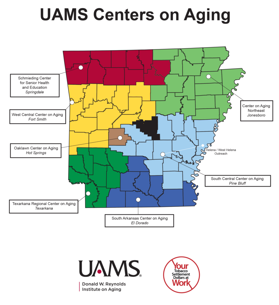Map of Arkansas counties showing zones for different Centers on Aging