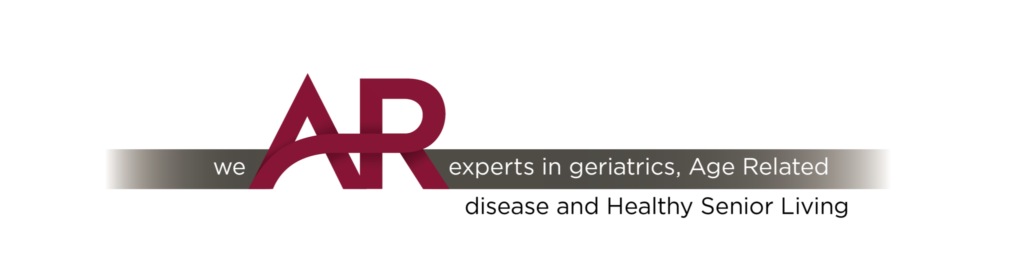 "Graphic that reads ""We AR experts in geriatrics, Age Related Disease and Healthy Senior Living"""